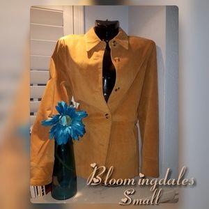 BLOOMINGDALES Brown Leather Blazer Jacket